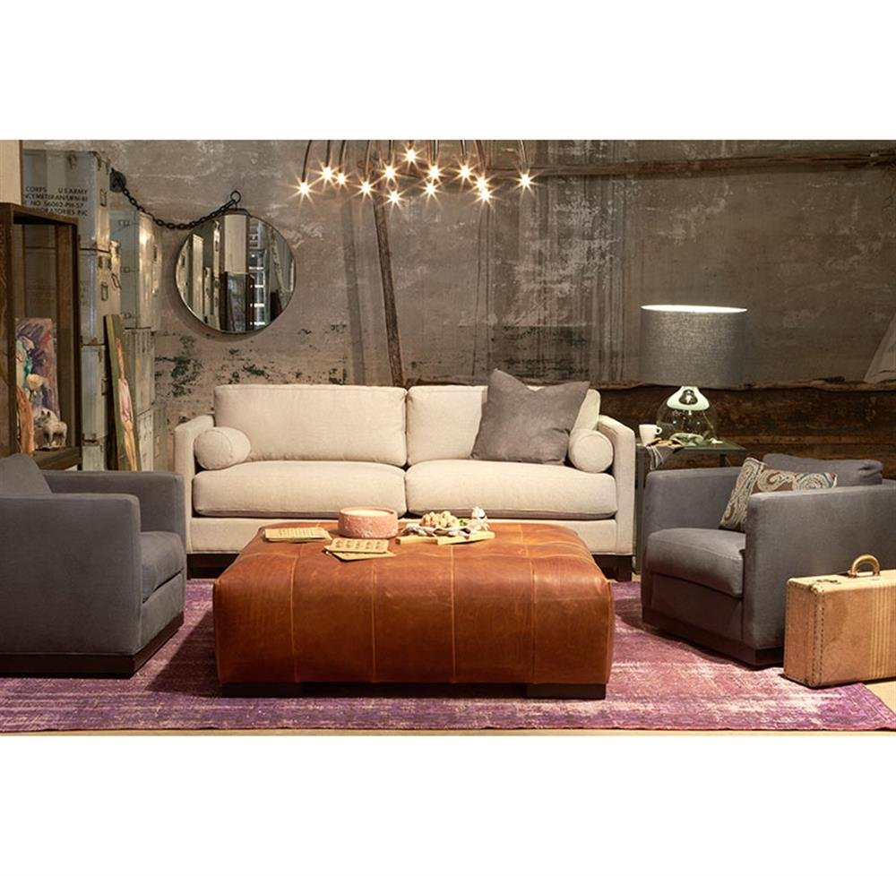 Cisco Brother Arden Modern Classic Tufted Terracottum Decorate A Leather Ottoman Coffee Table