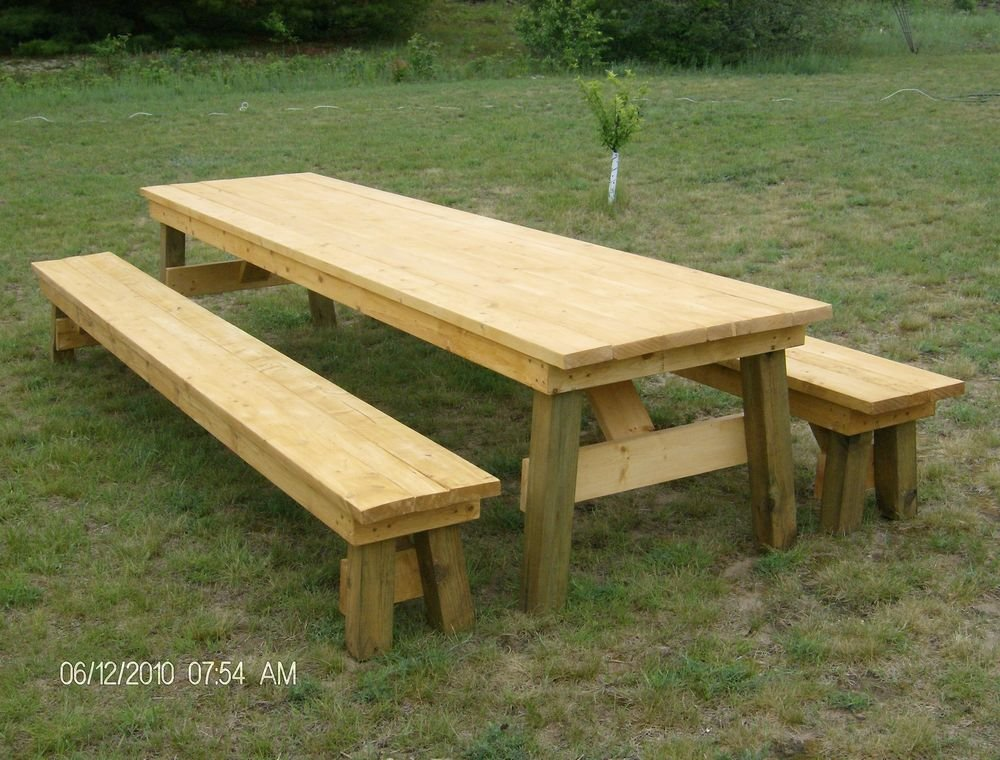 Classic Picnic Table Separate Bench Plan Decorating Square Picnic Table