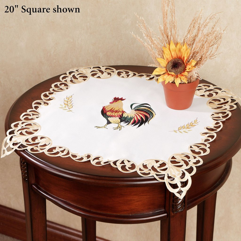 Classic Rooster Embroidered Table Topper Changing Table Topper Children