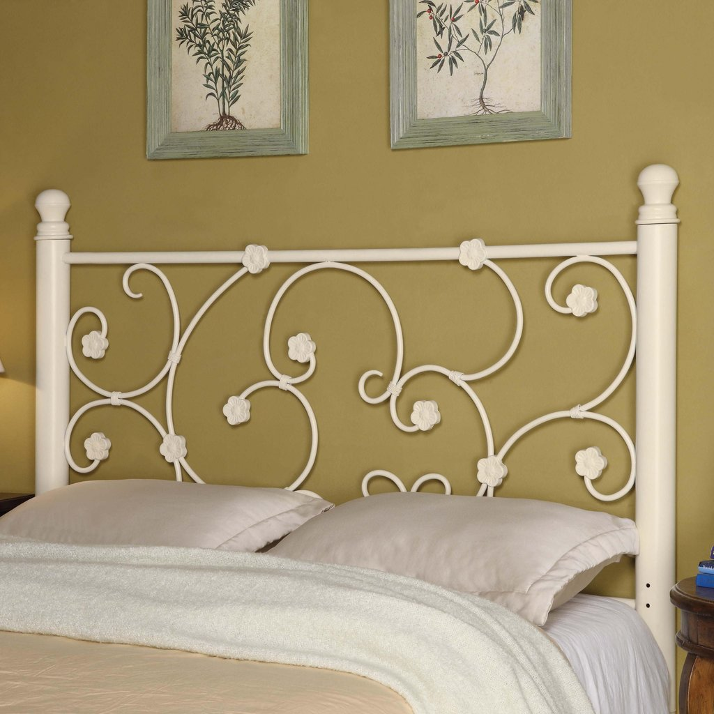 Coaster Iron Bed Headboard 300185qf Full Queen White Making An Wrought Iron Headboard