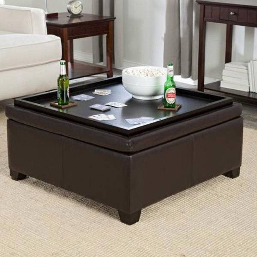 Coaster Storage Ottoman Coffee Table Tray Square Leather Ottoman Coffee Table