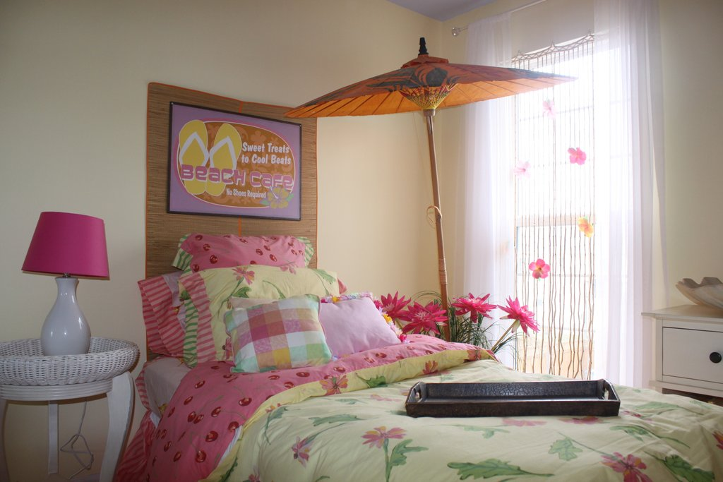 Color Pink Yellow Bedroom Makeover Wicker Dresser And Nightstand
