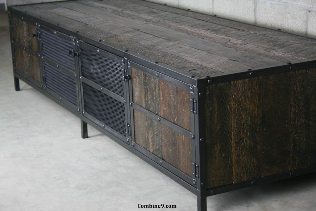 Combine9 Vintage Industrial Furniture Reclaimed Wood Media Console Table