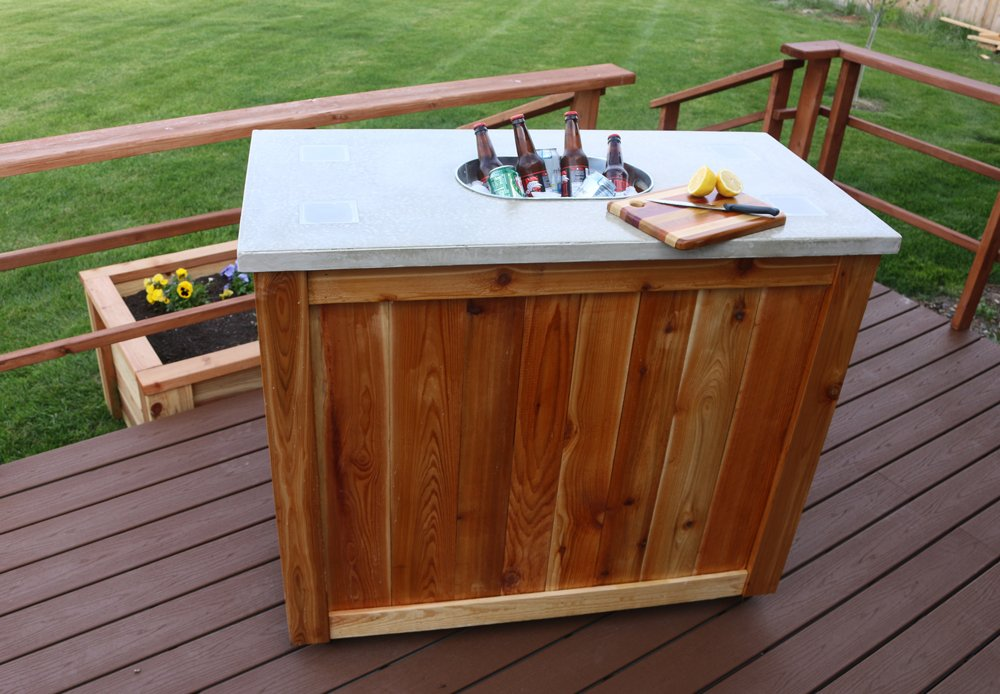 Concrete Bar Cart Led Light How To Build Round Wood Table Tops
