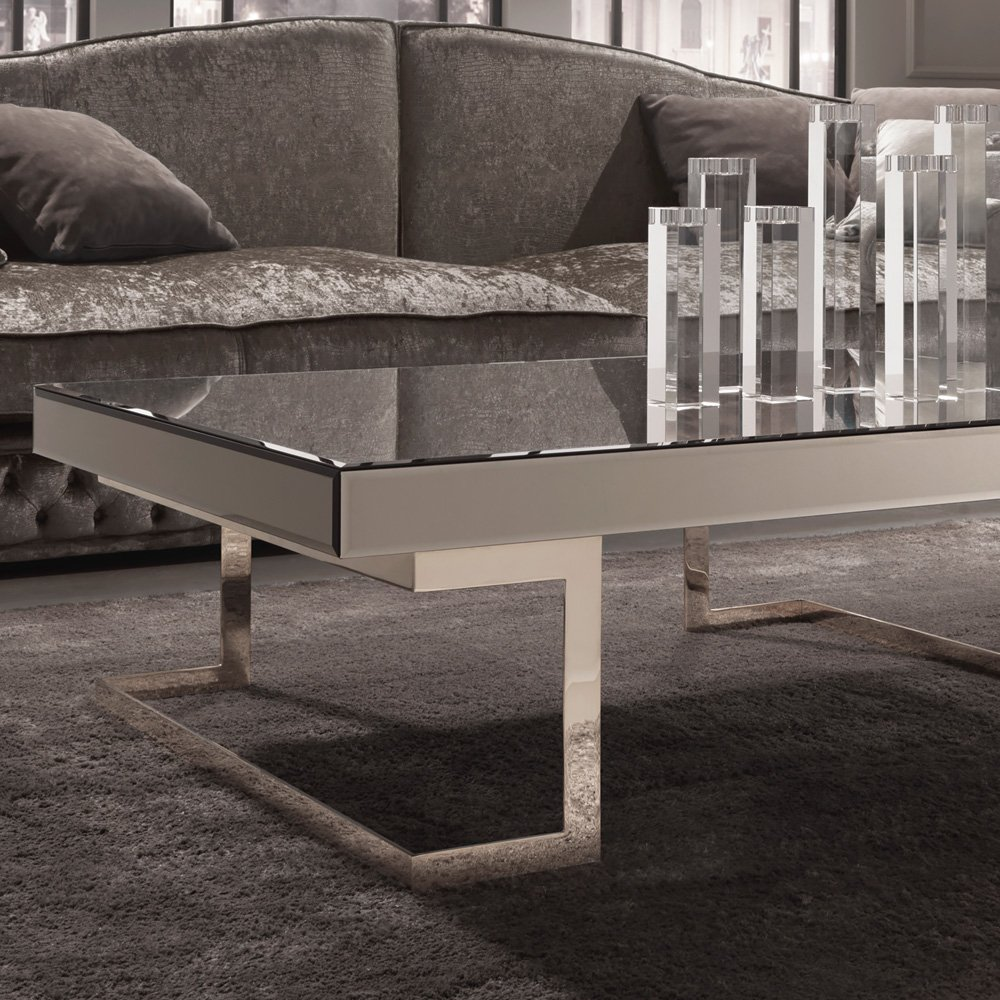 Contemporary Designer Italian Mirrored Glass Coffee Table Create Dressing Table With Mirrored Dresser
