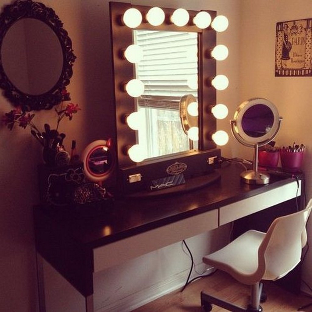 Contemporary Vanity Makeup Vanity Table Lighted Create Dressing Table With Mirrored Dresser