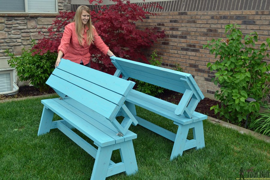 Convertible Picnic Table Bench Home Design Garden Decorating Square Picnic Table