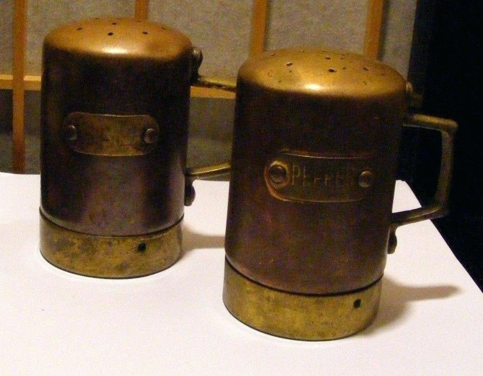 Copper Salt Pepper Shaker Brass Accent Top Bottom Plywood Siding Ply Bead Panel