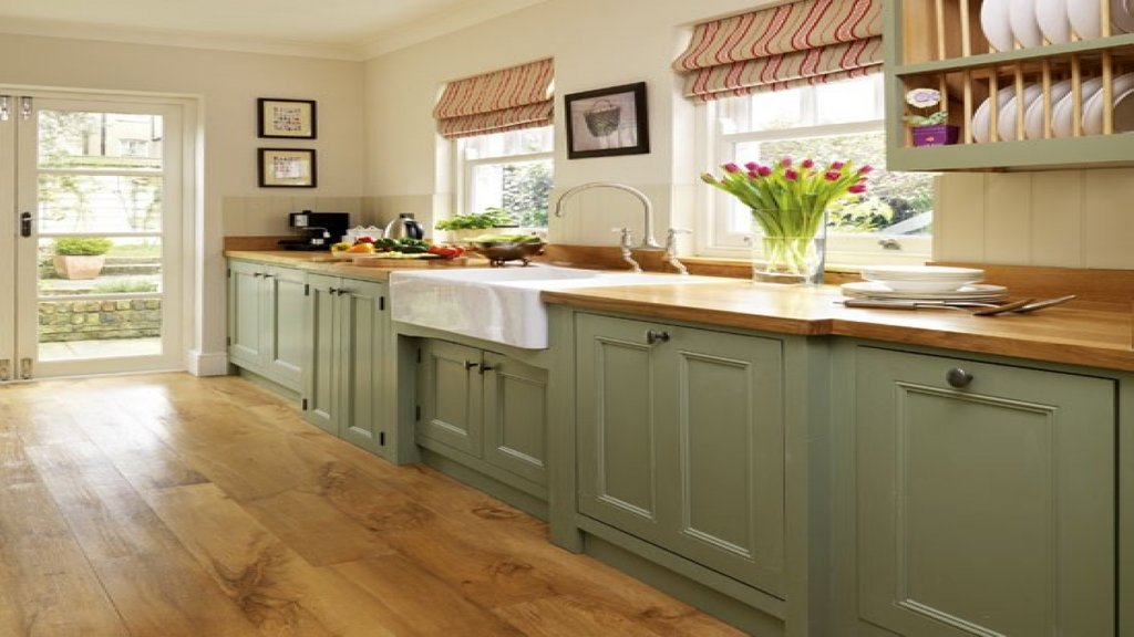 Country Style Dining Room Ideas Sage Green Painted Rustic Maple Kitchen Cabinets