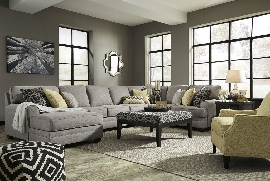 Cresson Pewter Laf Large Chaise Sectional Ashley Best Oversized Sectional Sofas