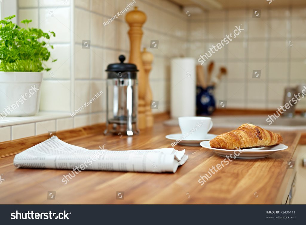 Croissant Cup Coffee Kitchen Counter Stock Photo Counter Height Kitchen Tables Design