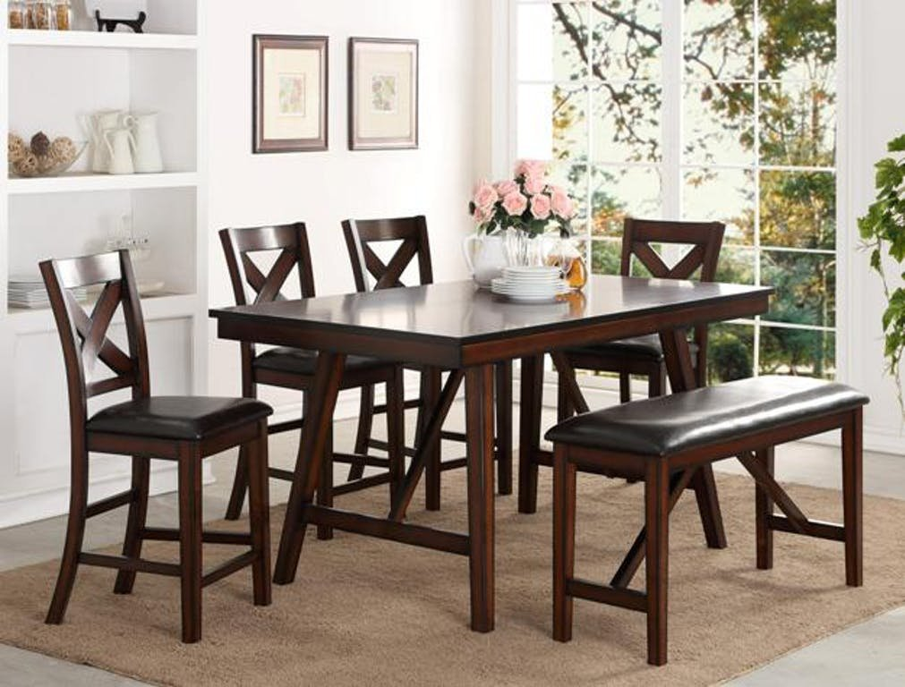 Crown Mark Dining Room Vernon Counter Height Table 2756t How To Clean A Tufted Velvet Sofa
