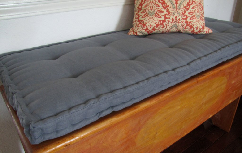 Custom Bench Cushion Gray Linen Window Seat Cushion French Custom Bench Cushions