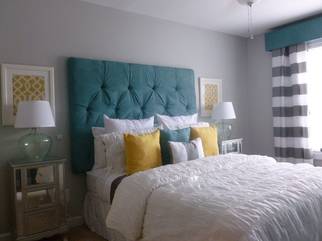 Custom Cornice Drapery Panel Tufted Headboard Padded Headboard Ideas