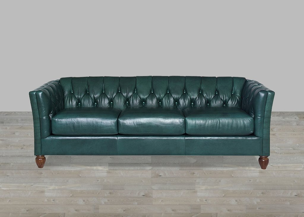 Custom Turquoise Leather Sofa Button Tufted Deep Sectional Sofas Living Room Furniture