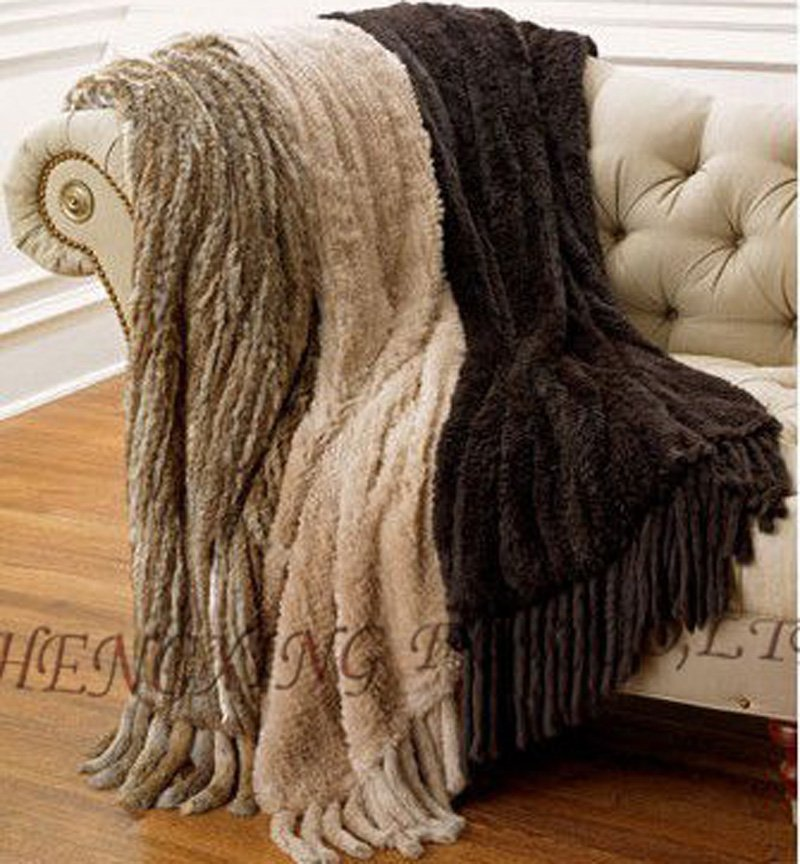 Cx 20 European Fashion Real Rabbit Fur Kniited Throw Rug How To Make A Crocheted Flower Knitted Pouf