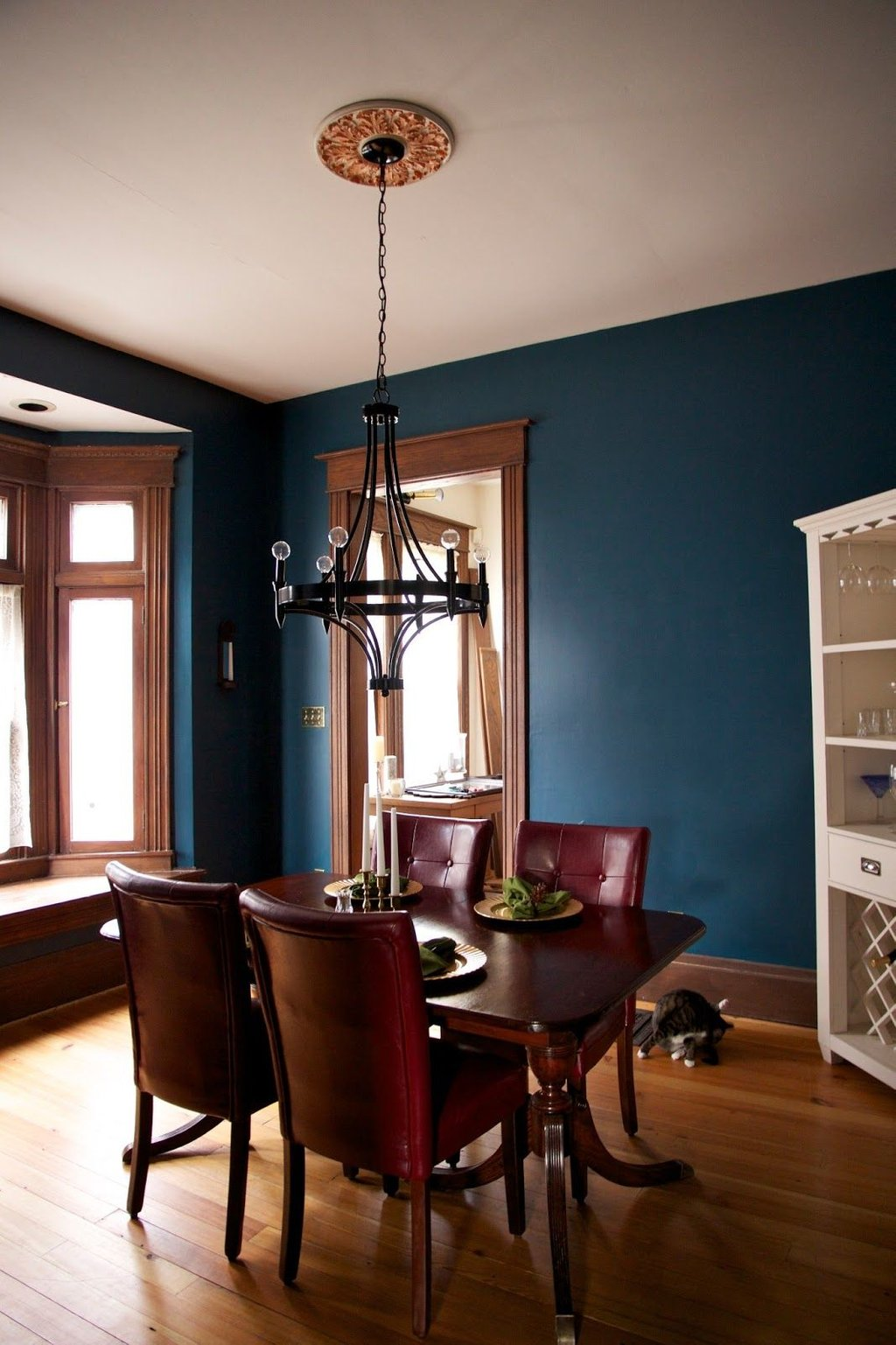 Dark Teal Wall Paint Unpainted Wooden Trim Color Design For House Interior Dining Room