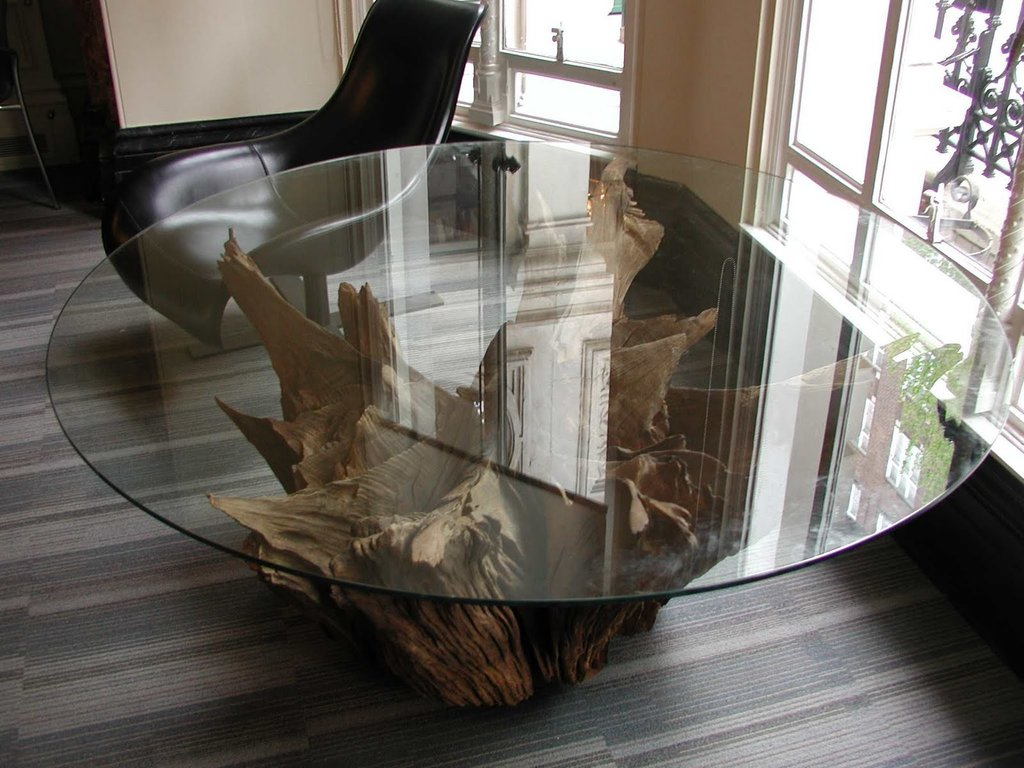 Deballage Designs Tree Root Table Glass Top Making Tree Stump Coffee Table