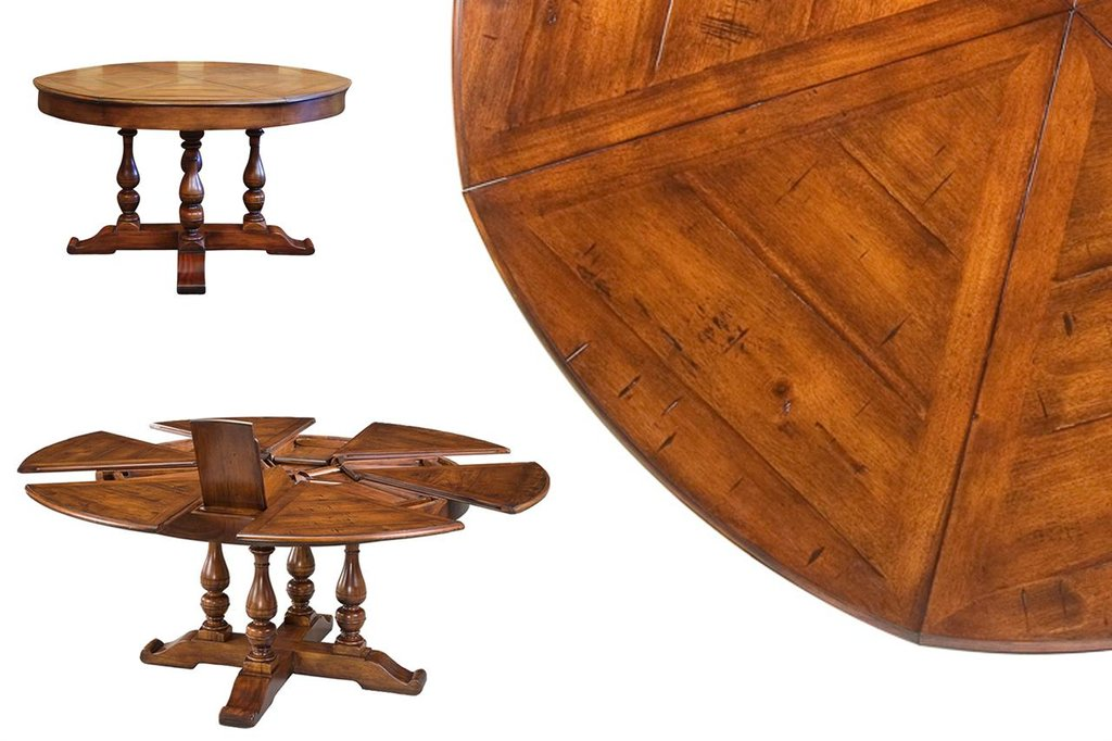 Dining Table Hidden Leaf Solid Walnut Round Dining Table With Leaf Butterfly