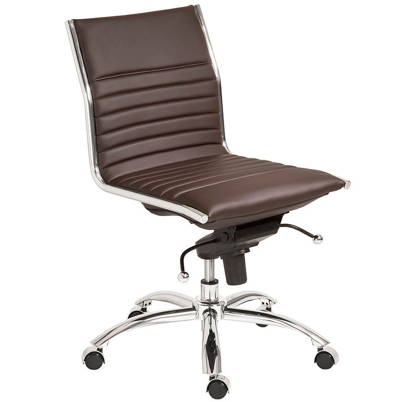 Dirk Modern Armless Office Chair Brown Armless Office Chairs: Don't Miss It