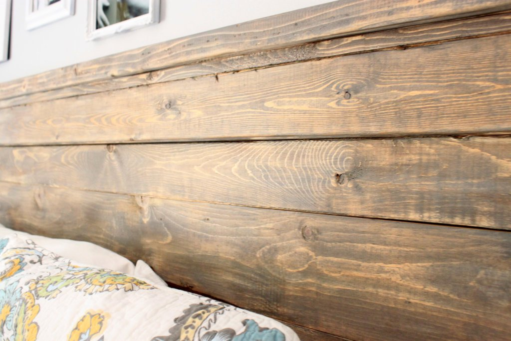 Distressed Wood Headboard Standard King Size   Bed Frame With Headboard