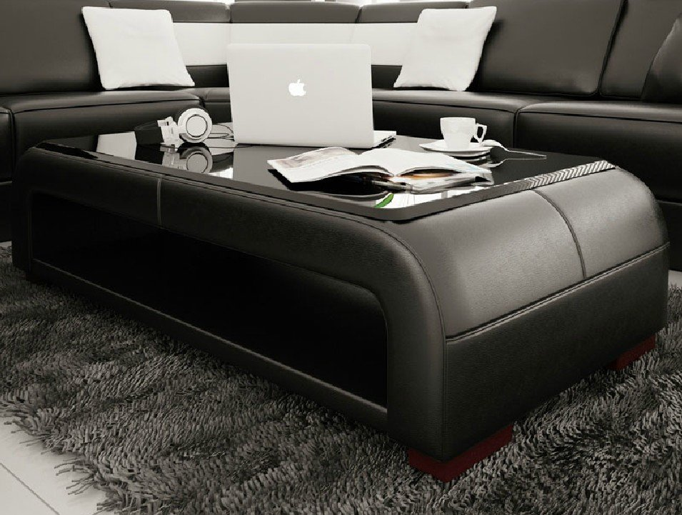 Divani Casa Ev30 Modern Black Bonded Leather Coffee Table Decorate A Leather Ottoman Coffee Table