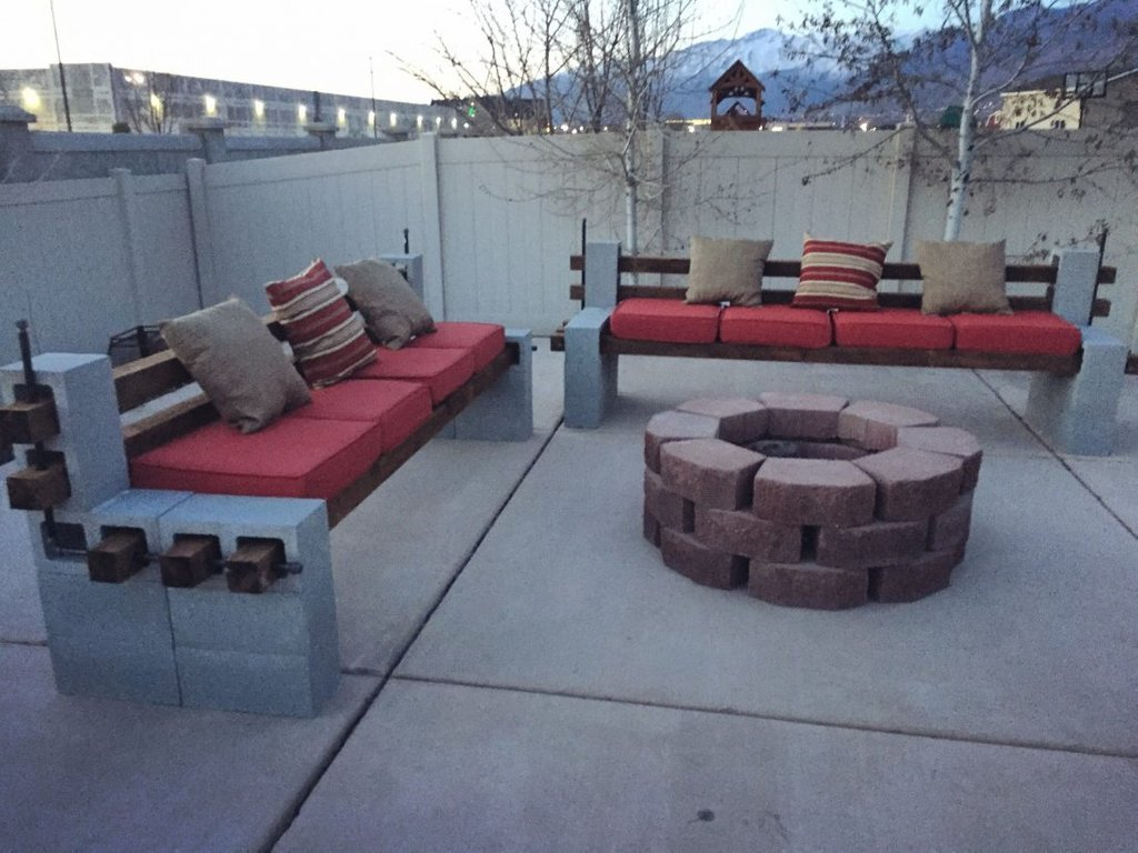 Diy Built Outdoor Bench Firepit Cozy Making Fire Pit Coffee Table
