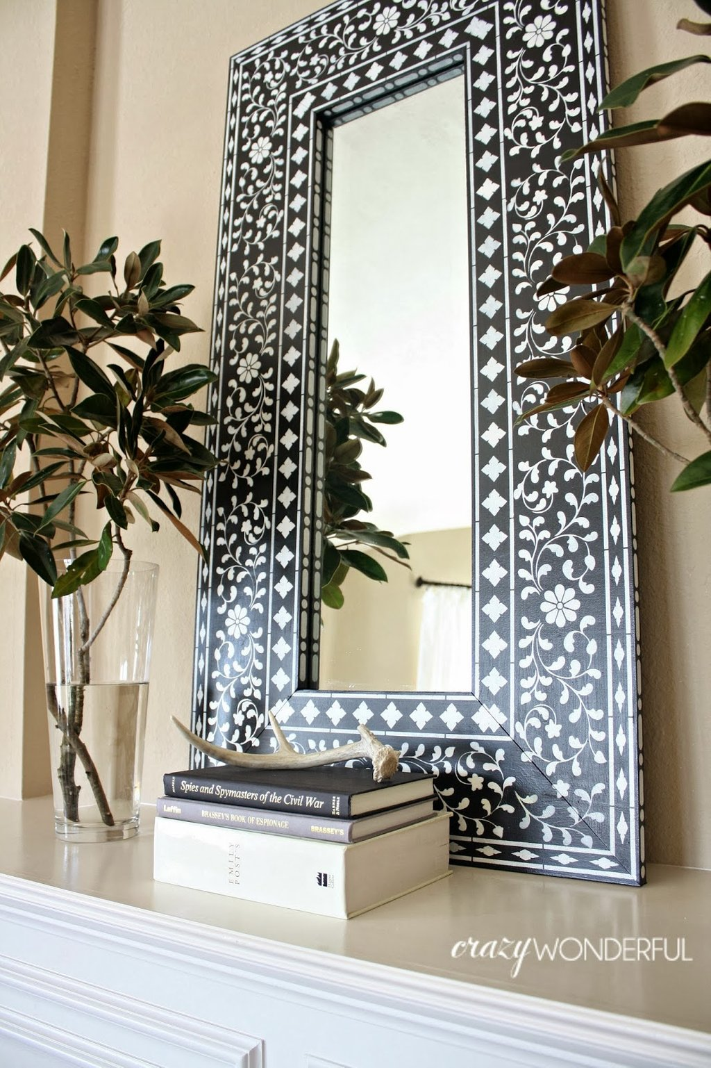 Diy Inlay Mirror Cutting Edge Stencil Giveaway Crazy How To Build A Wood Twin Bed Frame