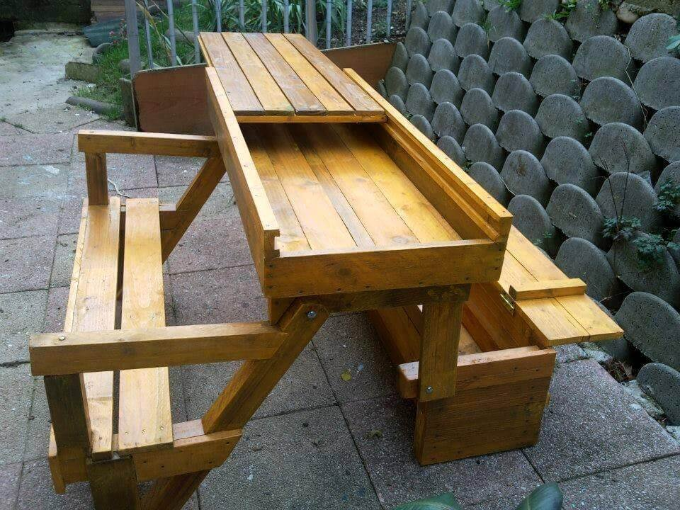Diy Pallet Folding Bench Storage Space 101 Pallet Decorating Square Picnic Table