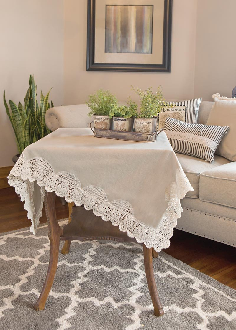 Dogwood Lace 42 Quot Table Topper Pine Hill Collection Changing Table Topper Children