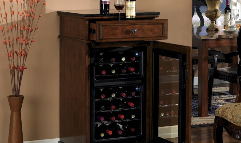 Dual Zone Wine Cooler Wood Cabinet Wooden How To Installing Wine Cooler Cabinet