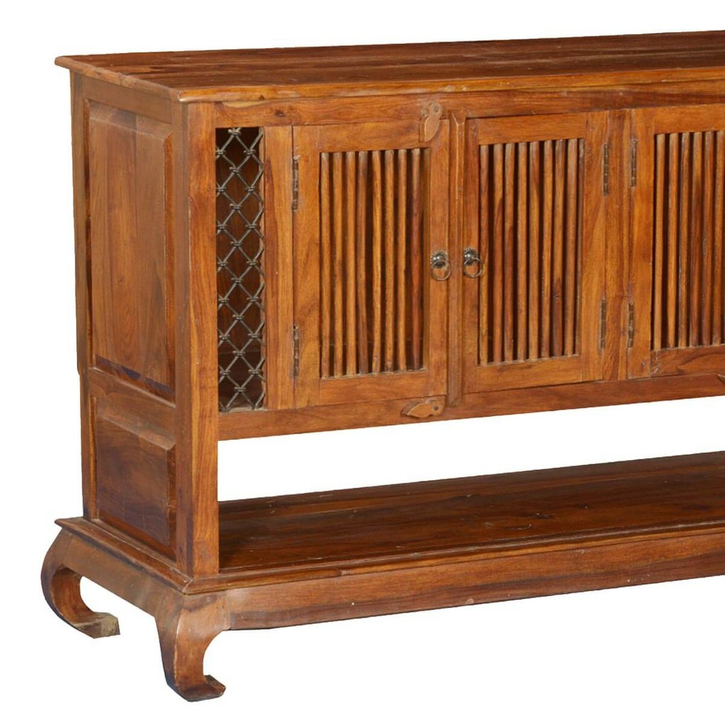 Empire Revival Solid Wood Medium Cabinet Tv Console Reclaimed Wood Media Console Table