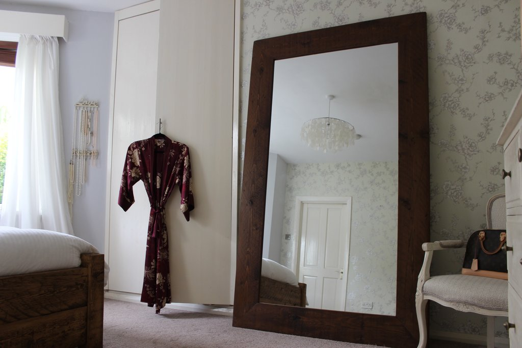 English Beam Floor Standing Reclaimed Wood Mirror Style How To Repair Rattan Dining Chairs