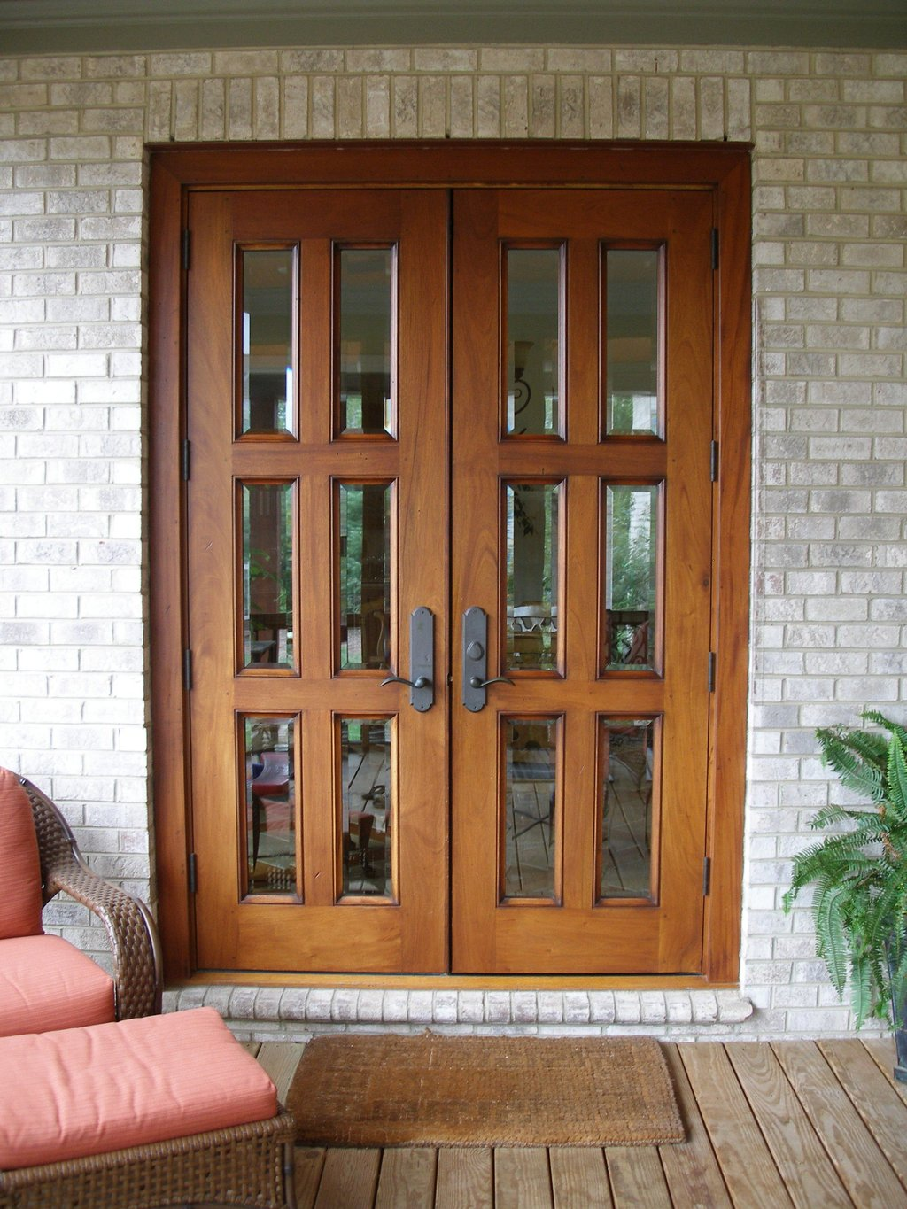 Exterior Double Brown Wooden Patio Door Black Metal Solid Wood Exterior Doors