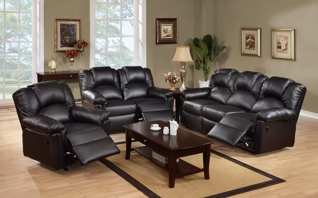 F6672 Black Motion Sofa Recliner Poundex Leather Sofa Recliner With Console