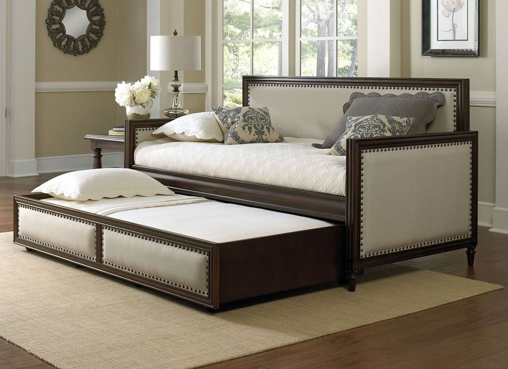 Fashion Bed Group Grandover Wood Upholstered Daybed King Size Bed Frame With Headboard