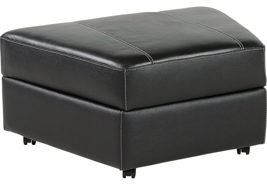 Fenway Height Black Leather Storage Ottoman Leather Square Leather Ottoman Coffee Table