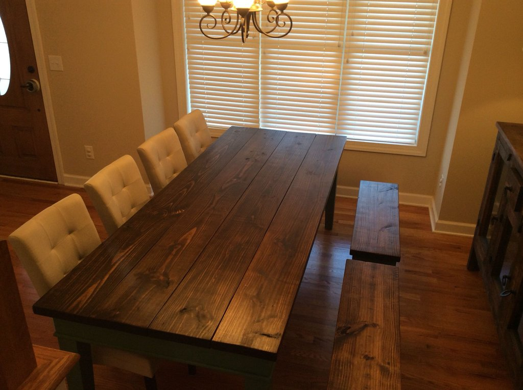 Finished Farm Table Pine Top Distressed Burned Wicker Headboard Is Durable Furniture