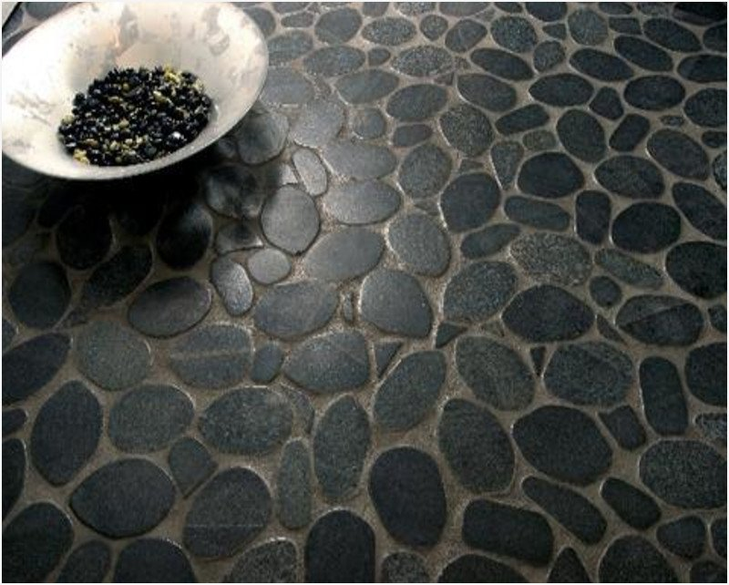 Flat Pebble Mosaic Tile Eye Catching Teatro Paraguay Installation Of Pebble Tile
