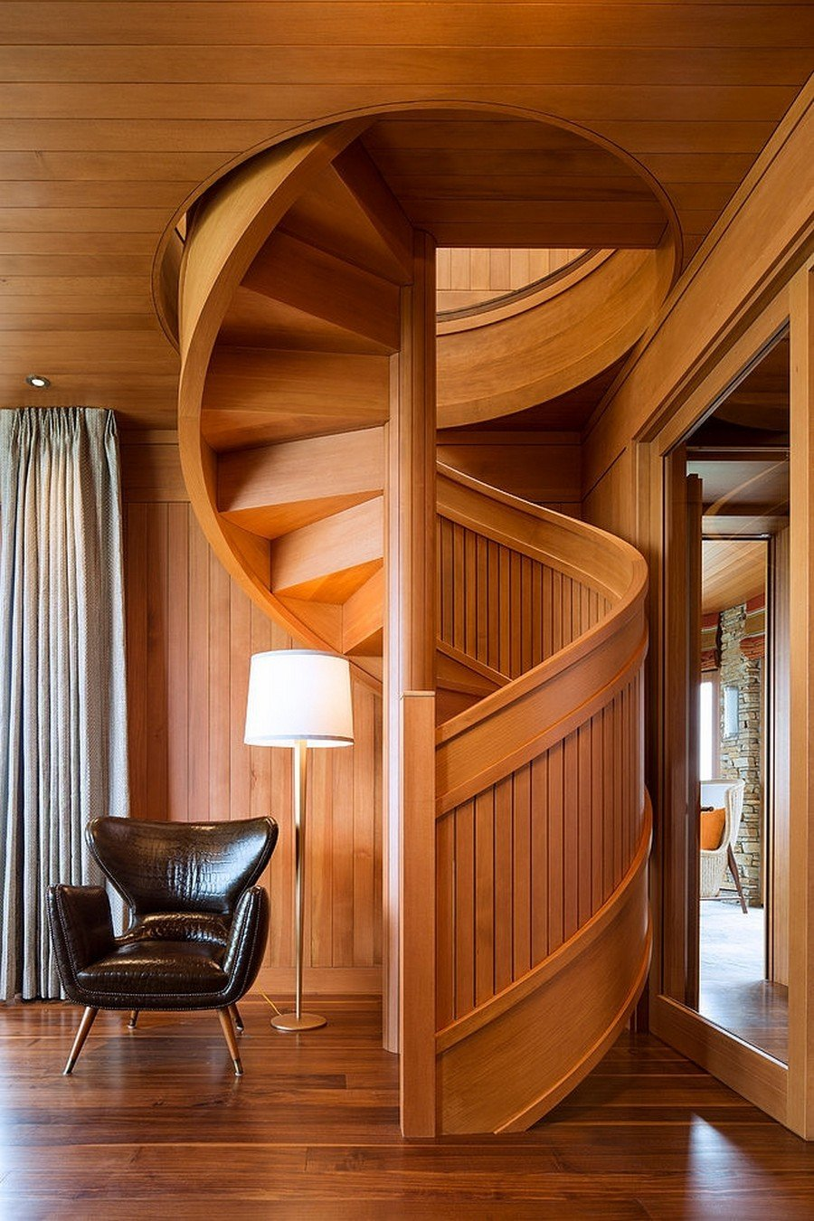 Flowing Spiral Wood Staircase Work Art Outdoor Wooden Spiral Staircase