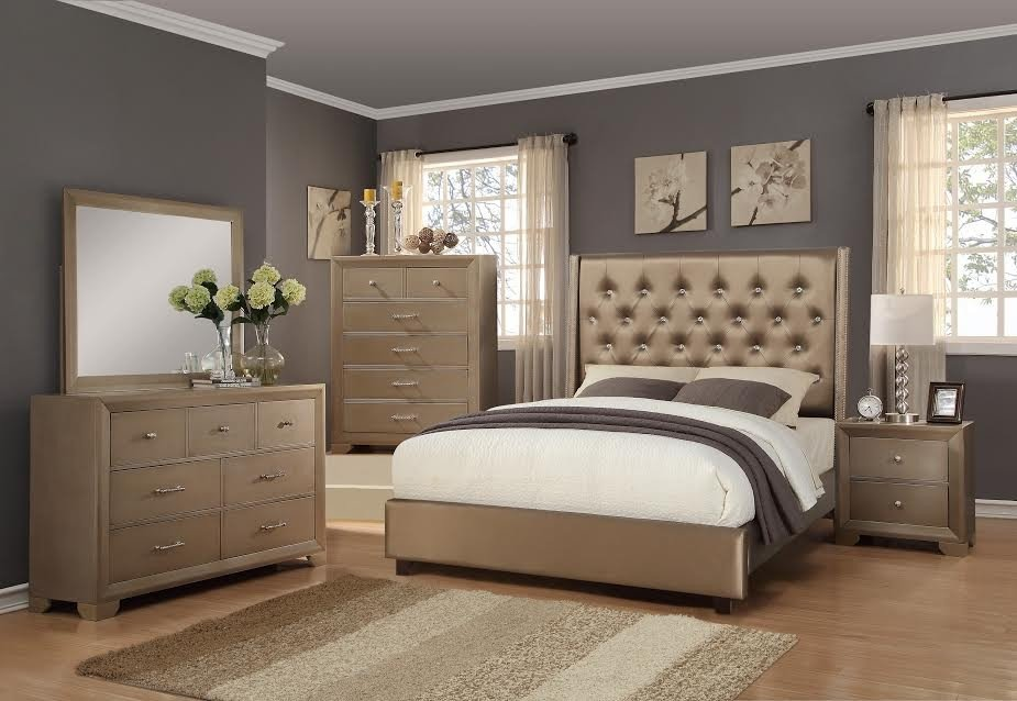 Fontaine Metallic Gold B1700 4 Pc King Bedroom Set How Make Rolling File Cabinet