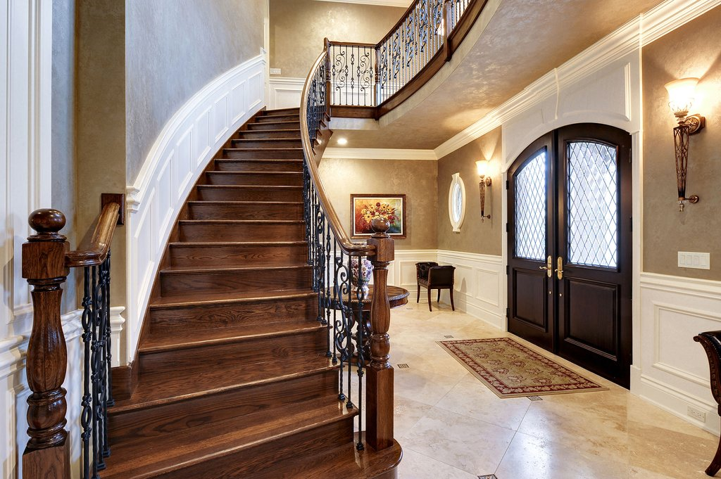 Foyer Solid Wood Entry Door Solid Wood Staircase How To Installing Wine Cooler Cabinet