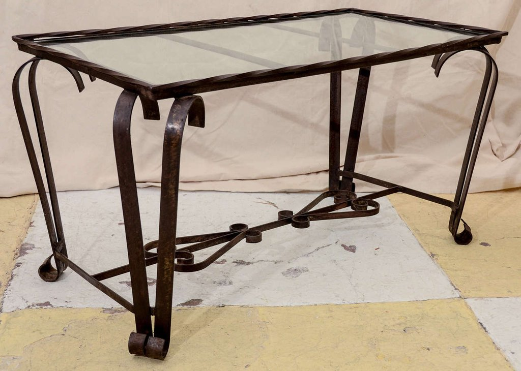 French 1940 39 Wrought Iron Glass Top Coffee Table 1stdib How To Restore Wrought Iron End Tables