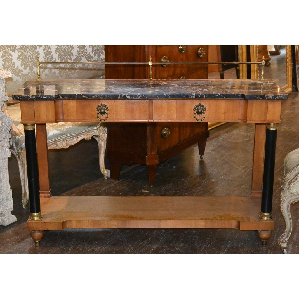 French Walnut Console Marble Top Antique Table Double Pedestal Dining Table Antique