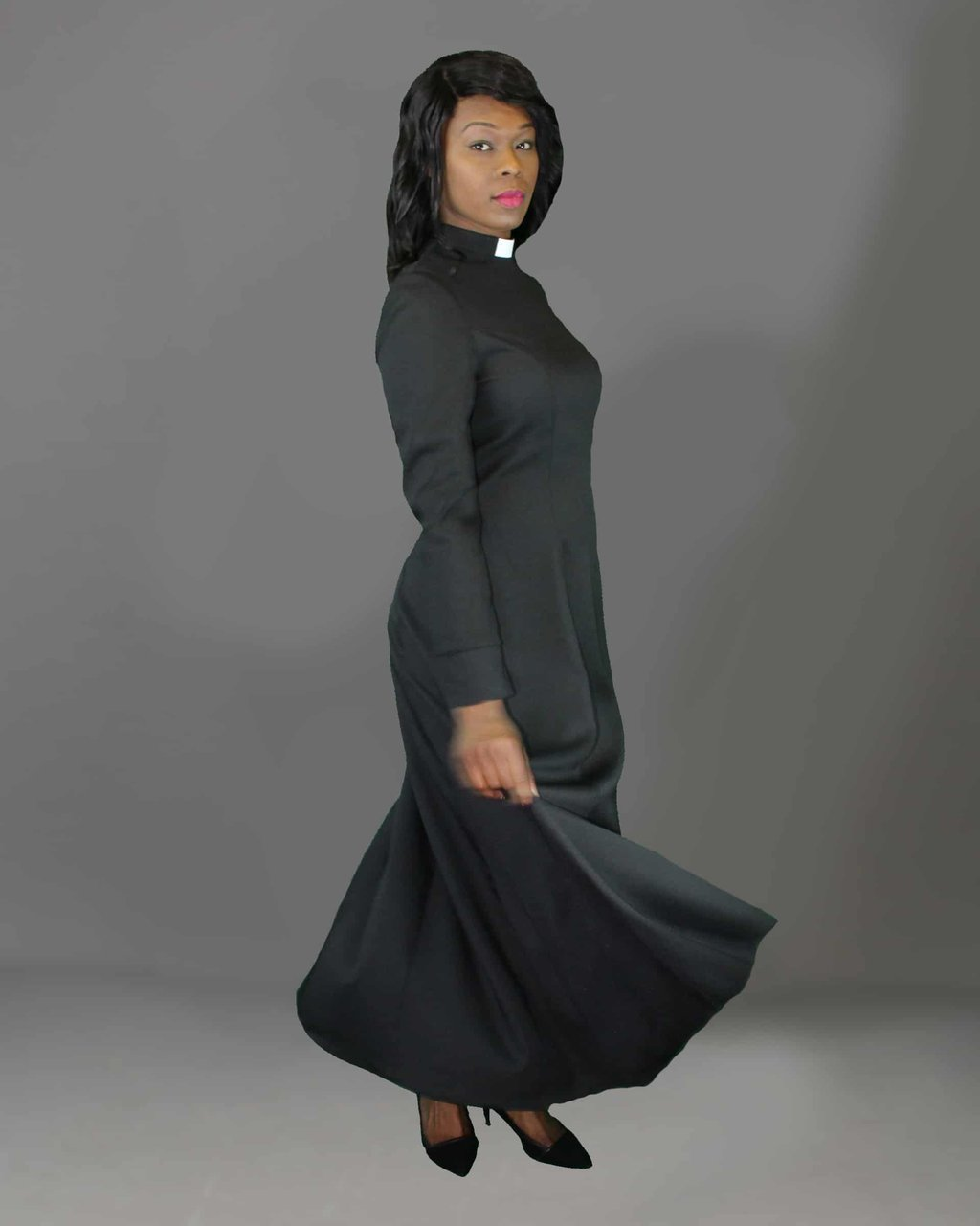 Full Length Clergy Dress With Full Length Wall Mirror Storage