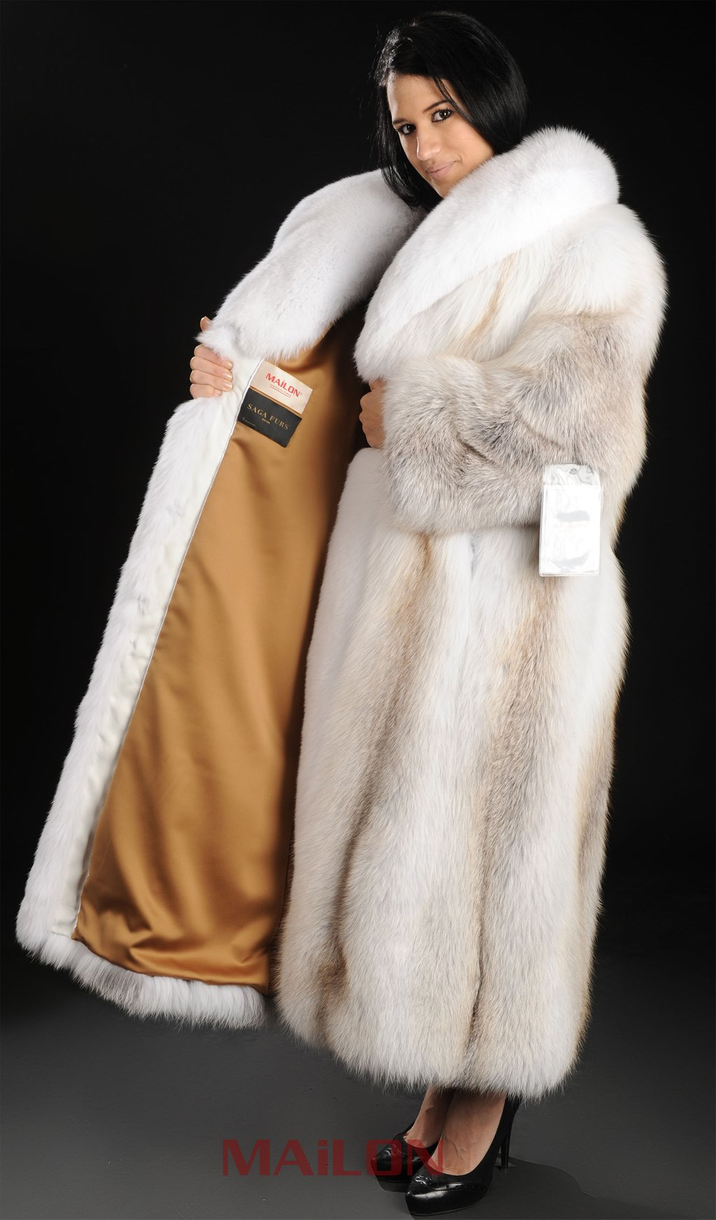 Full Length Fur Coat Jacketin With Full Length Wall Mirror Storage
