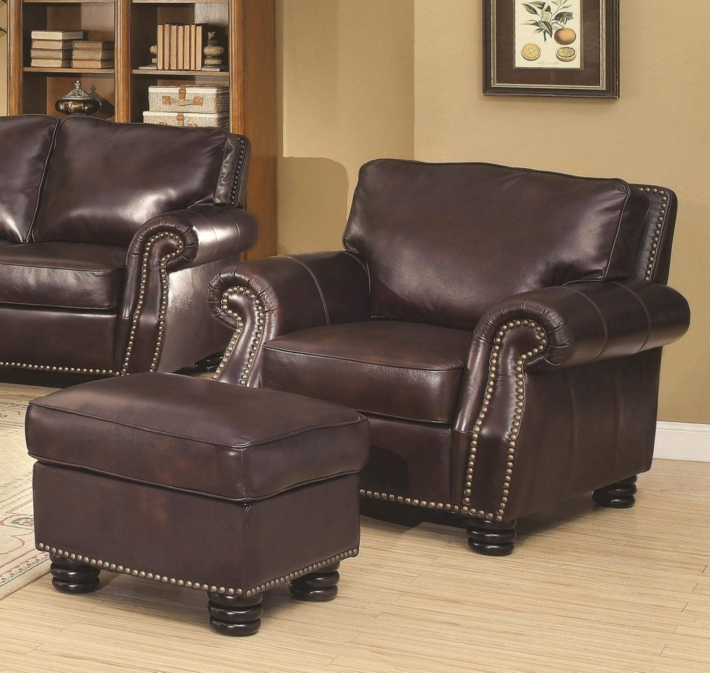 Furniture Alluring Leather Chair Ottoman Cozy Trendy Home Furniture 2019