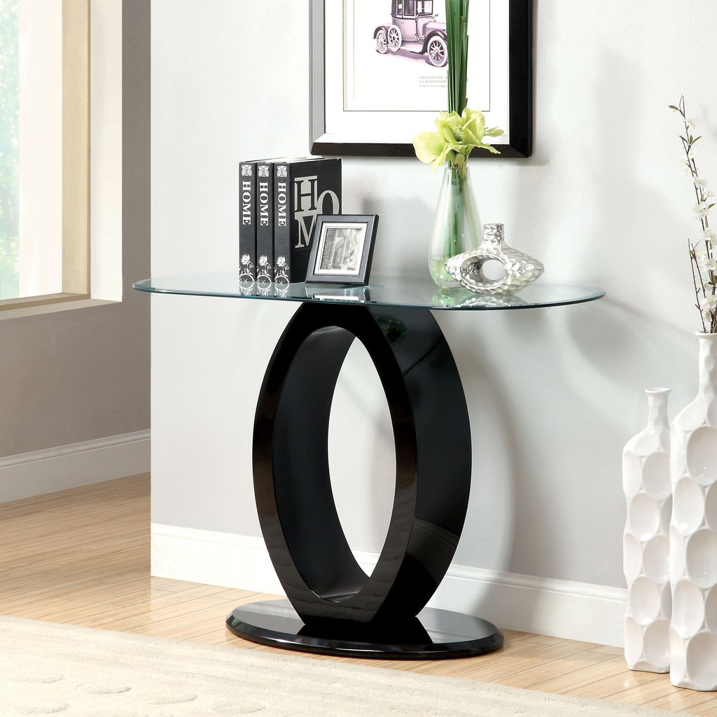 Furniture America Opelle Modern Shaped Sofa Table Modern Mirrored Console Table