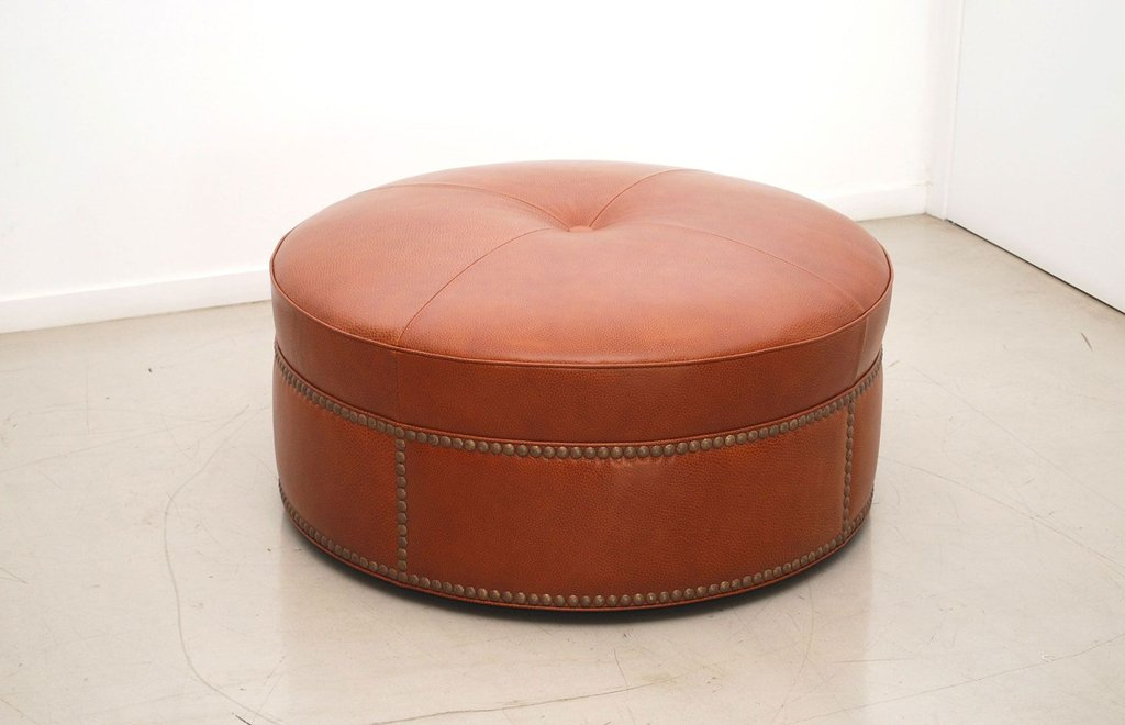 Furniture Brown Leather Ottoman Cream How To Make Round Ottoman Coffee Table