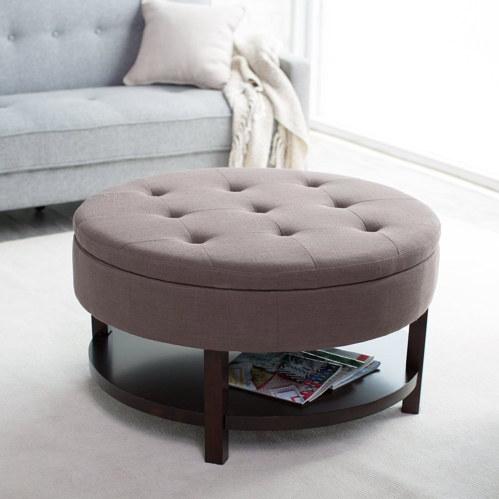 Furniture Brown Tufted Upholstered Ottoman How To Make Round Ottoman Coffee Table